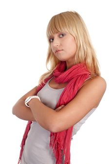 Free Girl With Pink Scarf Royalty Free Stock Image - 20129016