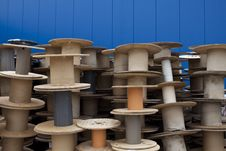 Free Stack Of Cable Drums Stock Image - 20129101