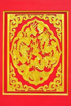 Free Golden Dragon Decorated On Red Wood Royalty Free Stock Image - 20129186