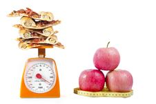 Free Apple And Pizza Slilces Stock Photos - 20129613