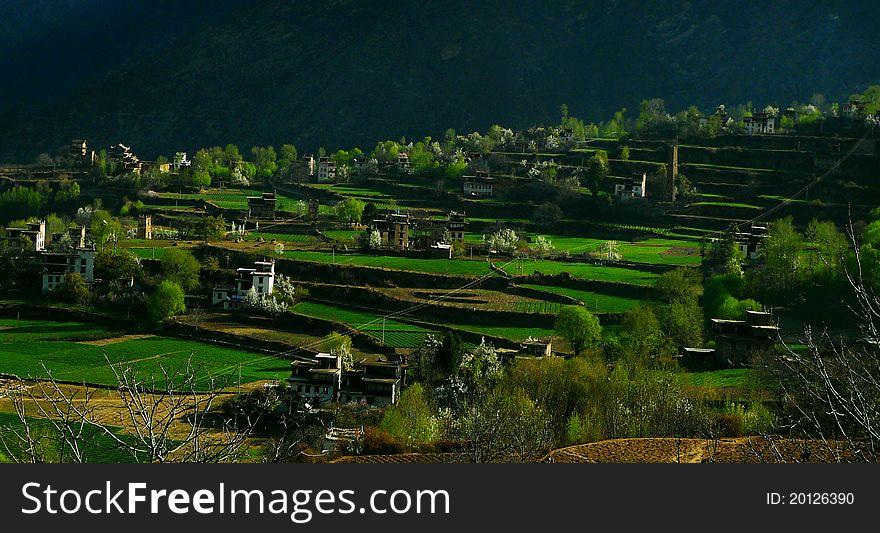 Village in a mountainous area
