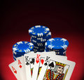 Free Winning Poker Hand And Chips Royalty Free Stock Images - 20130819