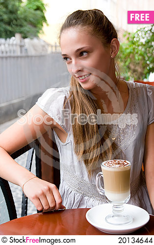 Free Woman With Coffee In Cafe Stock Images - 20134644