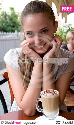 Free Woman With Coffee In Cafe Royalty Free Stock Photo - 20134655