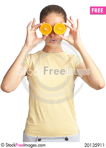 Free Woman With Two Halves Of Orange Stock Image - 20135911