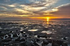 The Sea Side Golden Sunset During Low Tide Royalty Free Stock Photo