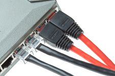 Free Computer LAN Cables With Router Stock Photography - 20130552