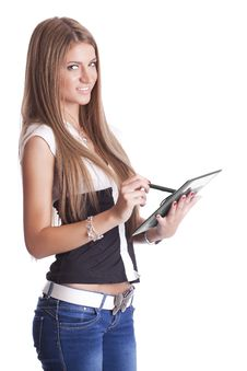 Free Beautiful Woman With Tablet Computer Royalty Free Stock Photography - 20130567