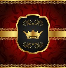 Golden Vintage Frame With Crown Royalty Free Stock Images