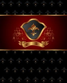 Free Golden Ornate Frame With Shield Stock Photography - 20131212
