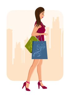 Free Girl With Shopping Bags, Urban Background Stock Photos - 20131223