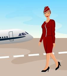 Free Beautiful Stewardess At The Airport Stock Photography - 20131232