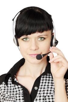 Free Woman With Telephone Headset Royalty Free Stock Photography - 20131717