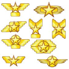 Free Golden Stars And Wings Stock Photography - 20133502
