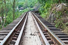 Free Curve Train Rails With A Forest Royalty Free Stock Photos - 20133608