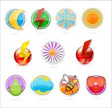 Colored Symbols Set On The White Stock Image