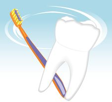 Free Tooth And Toothbrush. Dental Concept Stock Images - 20134284