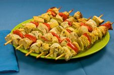 Baked Chicken Skewers Royalty Free Stock Photos