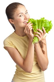 Free Young Woman With Green Lettuce Stock Photos - 20135913