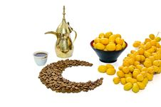 Free Arabic Coffee With Date Fruit Royalty Free Stock Image - 20136126