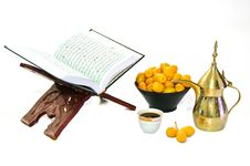 Arabic Coffee With Date Fruit And The Holy Quran Stock Image