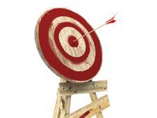 Bull S-Eye Target With Arrow Stock Photo