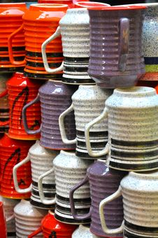 Closeup Of Ceramic Cups Royalty Free Stock Images