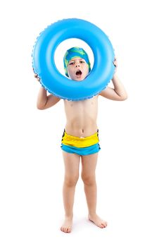 Free Boy Playing With Blue Life Ring Stock Photo - 20138390