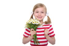 Free Happy Girl With A Bouquet Of Daisies Stock Photo - 20139660