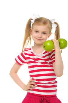 Free Girl Trains Fitness Dumbbells From Apples Royalty Free Stock Photos - 20139718
