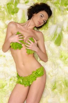 Sexy Woman With Cabbage Royalty Free Stock Photo