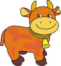Free Small Ridiculous Cow With Bell On Green Strap Stock Images - 20142744