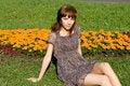 Free Beautiful Girl Sitting On Meadow Stock Photo - 20143060