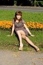 Free Beautiful Girl Sitting On Meadow Stock Photography - 20143112
