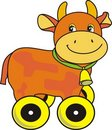 Free Cow With Bell On Green Strap, Toy On Wheels Royalty Free Stock Images - 20144099