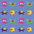 Free Checked Pattern With Doodle Sea Creatures Stock Photos - 20148283