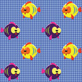 Free Checked Pattern With Funny Fishes Stock Image - 20148651