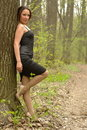 Free Female Leaning On A Tree Stock Photos - 20148803