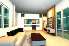 Free 3d Render Modern Living Room Royalty Free Stock Images - 20140289