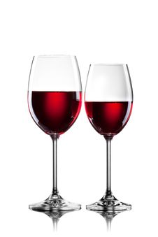 Free Red Wine In Glasses  On White Stock Image - 20140811