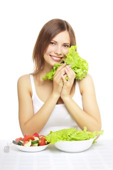 Girl With Vegetable Salad Royalty Free Stock Images