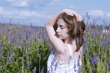 Girl Walking In A Meadow 4 Royalty Free Stock Photo