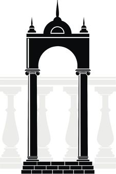 Silhouette Of Arch And Balustrade Royalty Free Stock Images