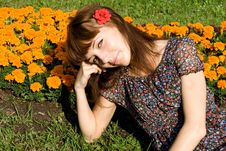 Free Beautiful Girl Sitting On Meadow Royalty Free Stock Image - 20143046