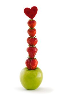 Free Composition Of Green Apple And Strawberries Stock Images - 20143884