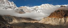 Annapurna Sanctuary And Annapurna I Stock Photo