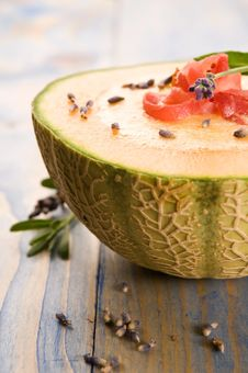 Free Melon Soup With Ham And Lavender Flower Royalty Free Stock Photo - 20144355