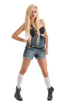 Free Sexy Young Blonde Female In Dungarees Stock Photo - 20144510