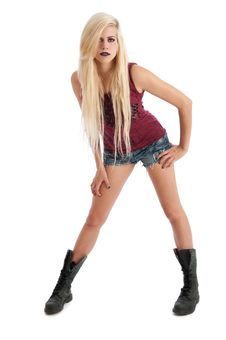 Free Sexy Young Blonde Female In Denim Shorts Stock Images - 20144594