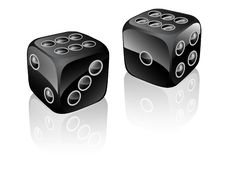 Free Two Dices Black Stock Images - 20144604